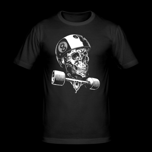Skull Longboard Rider - negative print - T-shirt près du corps Homme