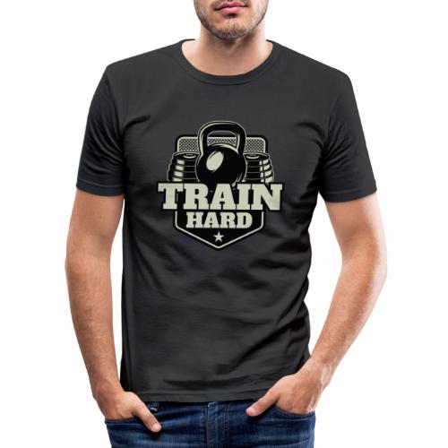 Train Hard - Männer Slim Fit T-Shirt