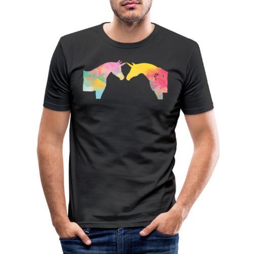 Unicorn Love - Miesten tyköistuva t-paita