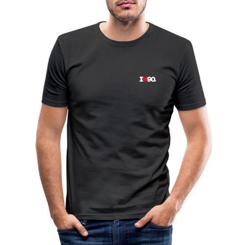 I love 90s Logo weiß/rot - Männer Slim Fit T-Shirt