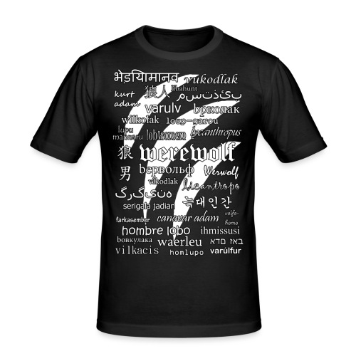 Werewolf in 33 Languages (Black Ver.) - Men's Slim Fit T-Shirt