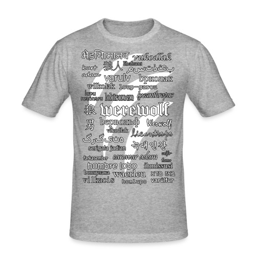 Werewolf in 33 Languages (Black Ver.) - Men's Slim Fit T-Shirt