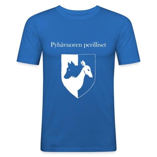 Pyhävuoren perilliset häälogo+teksti - Miesten tyköistuva t-paita