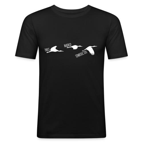 3 horizons oiseaux white - T-shirt près du corps Homme