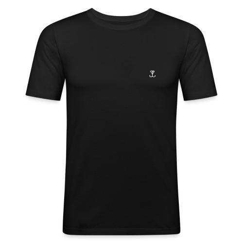 LOGO wit - Mannen slim fit T-shirt