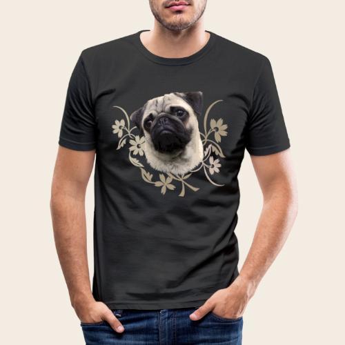 Mops Portrait - Männer Slim Fit T-Shirt