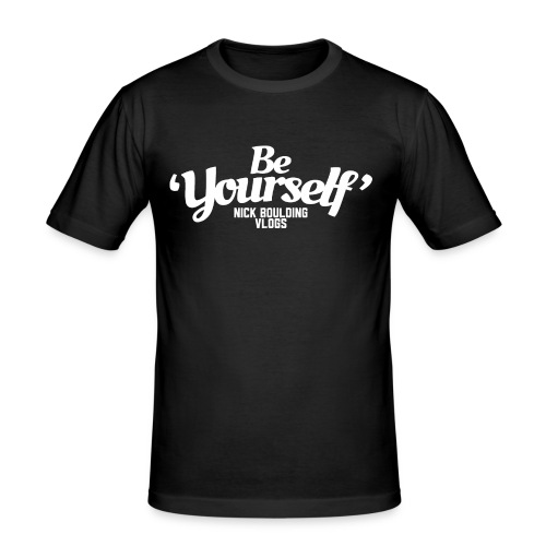 Be Yourself Logo White - Men's Slim Fit T-Shirt