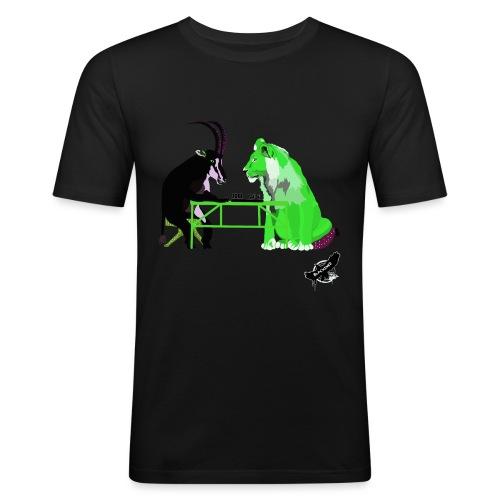 Playing Senet by BlackenedMoonArts, green w. logo - Herre Slim Fit T-Shirt