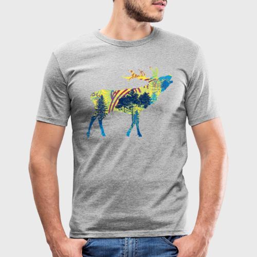 Cerf dans la forêt - T-shirt près du corps Homme