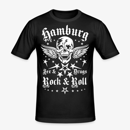 Hamburg Sex Drugs Rock & Roll Skull Wings - Männer Slim Fit T-Shirt