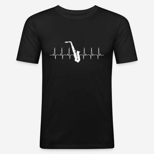 Saxophon Herzschlag - Männer Slim Fit T-Shirt