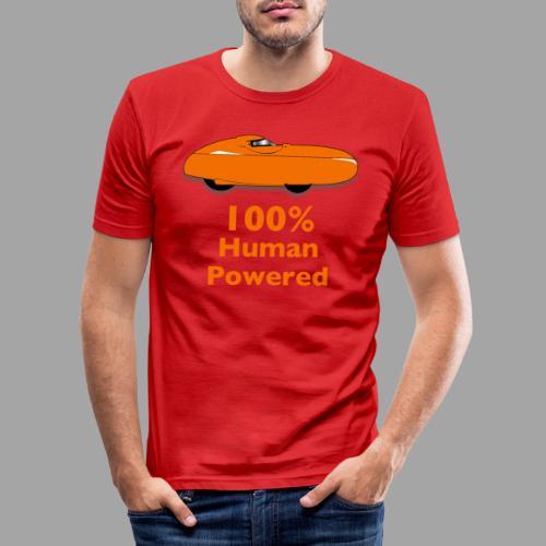 100% human powered - Miesten tyköistuva t-paita