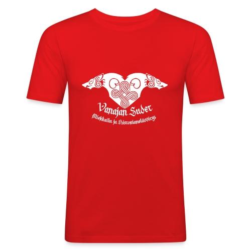 Vanajan Sudet Logo (valkoinen) - Miesten tyköistuva t-paita