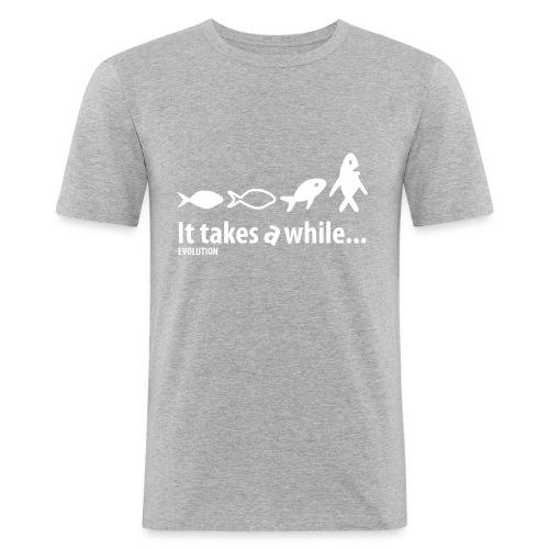 Evolution | Wit | M - Mannen slim fit T-shirt