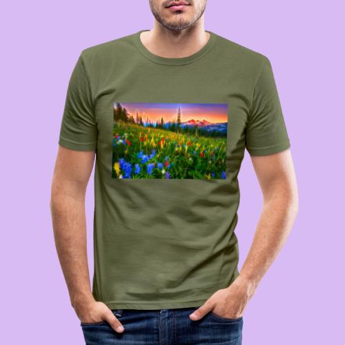 Bagliori in montagna - Maglietta aderente da uomo