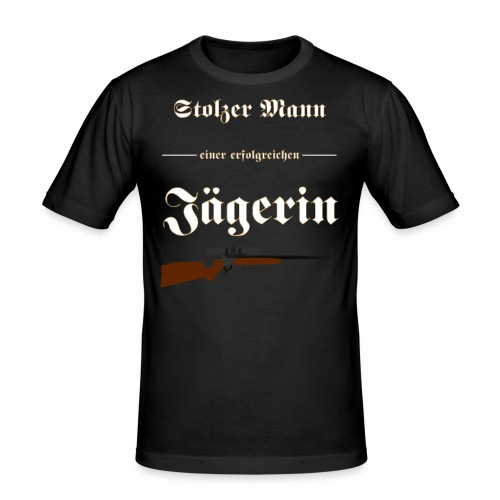 Stolzer Mann einer erfolgreichen Jaegerin - Männer Slim Fit T-Shirt