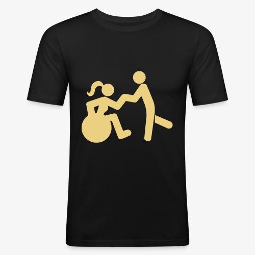 Afbeelding van vrouw in rolstoel die danst met man - Mannen slim fit T-shirt