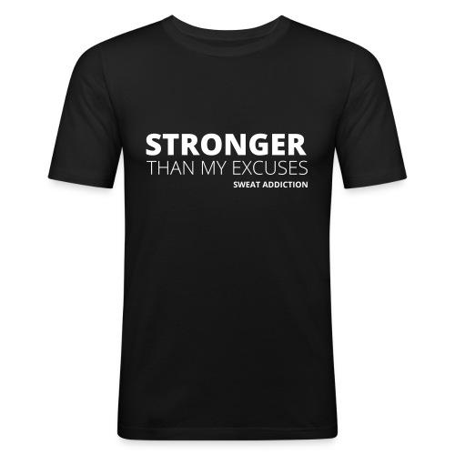 Stronger Than My Excuses - Miesten tyköistuva t-paita