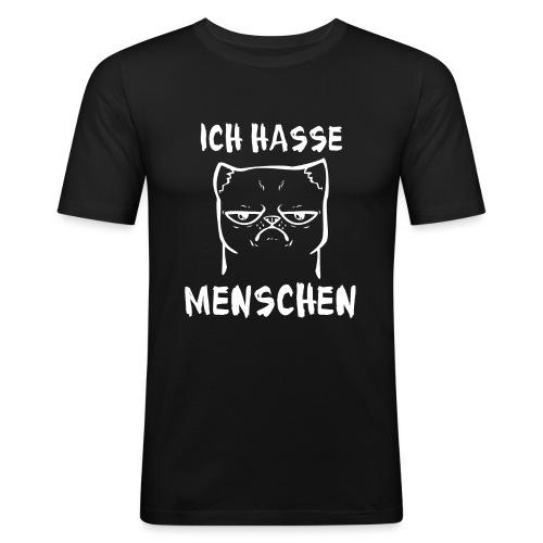 Ich hasse Menschen Katze - Männer Slim Fit T-Shirt