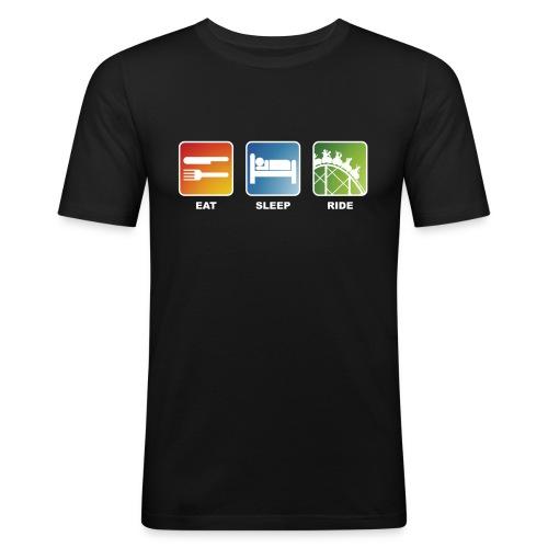 Eat, Sleep, Ride! - T-Shirt Schwarz - Männer Slim Fit T-Shirt