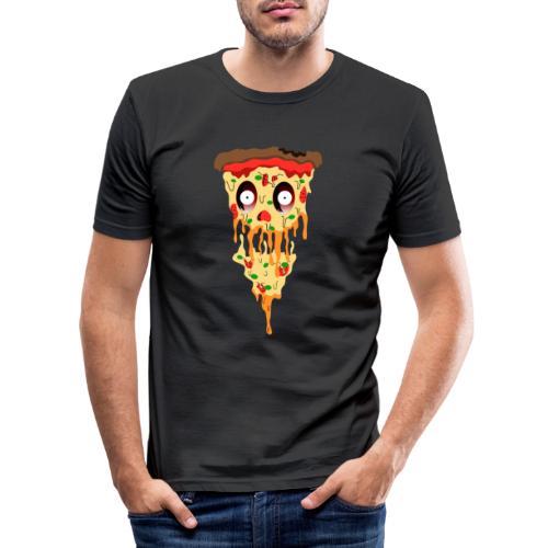Schockierte Horror Pizza - Männer Slim Fit T-Shirt