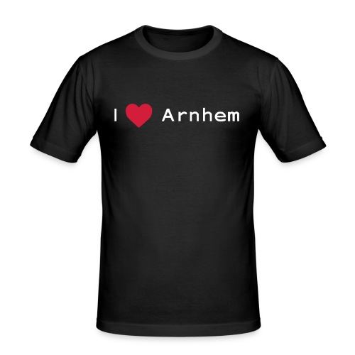 I love Arnhem wit - Mannen slim fit T-shirt
