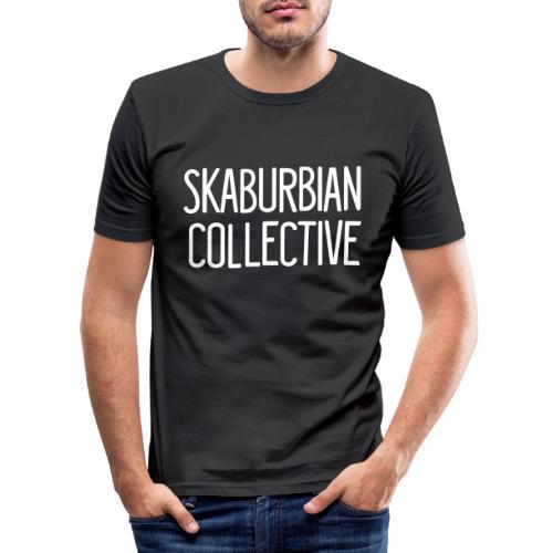 Skaburbian Collective White on black Text logo - Men's Slim Fit T-Shirt