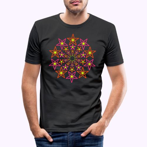 fractal star 3 väri neon - Miesten tyköistuva t-paita