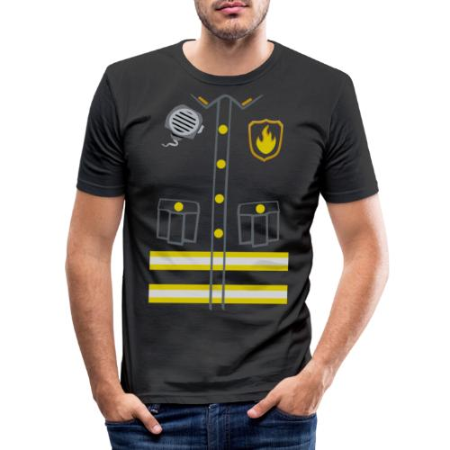 Kids Fireman Costume - Dark edition - Men's Slim Fit T-Shirt