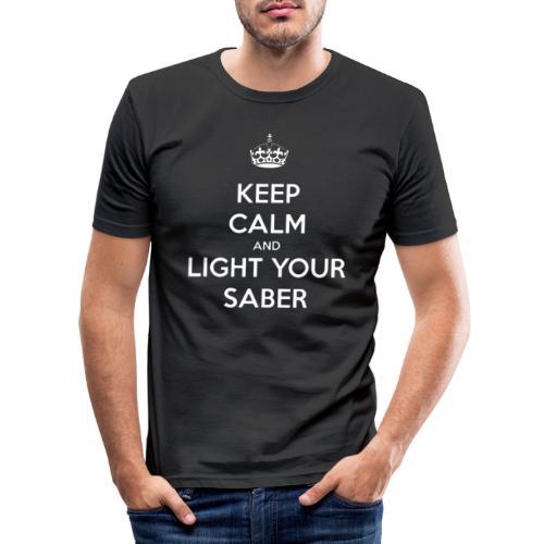 Keep calm and light your saber - Maglietta aderente da uomo