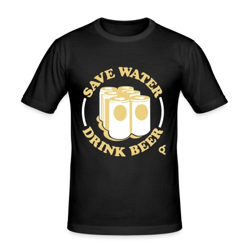 save water drink beer - T-shirt près du corps Homme