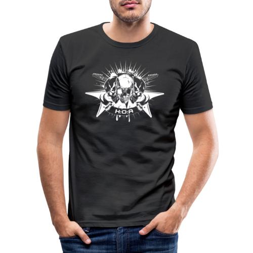H:O:A Logo + Schriftzug White - Männer Slim Fit T-Shirt