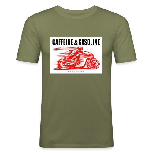Caffeine & Gasoline black text - Men's Slim Fit T-Shirt
