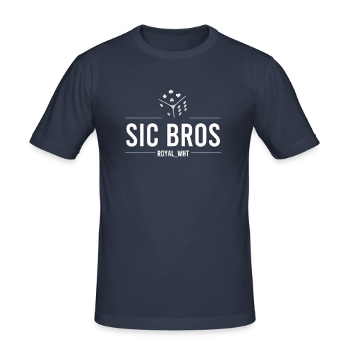 sicbros1 royal wht - Men's Slim Fit T-Shirt