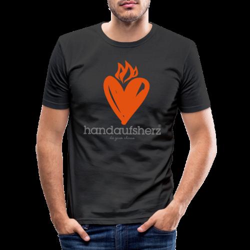 Hand aufs Herz - Männer Slim Fit T-Shirt