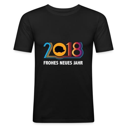 Frohes neues Jahr 2018 Igeldesign - Männer Slim Fit T-Shirt