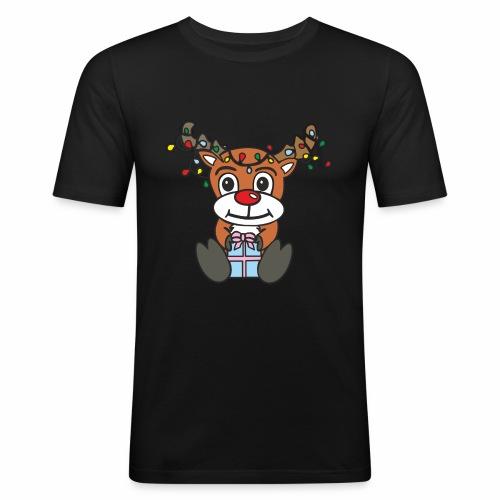 Rentier mit Lichterkette - Männer Slim Fit T-Shirt