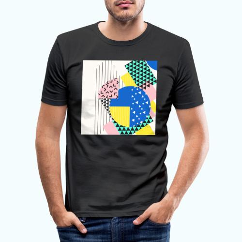 Retro Vintage Shapes Abstract - Men's Slim Fit T-Shirt
