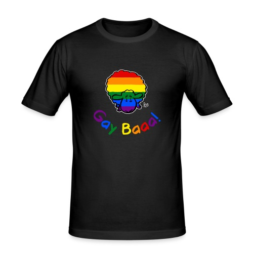Gay Baaa! Pride Sheep (black edition rainbow text) - Men's Slim Fit T-Shirt