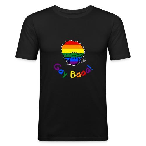Homosexuell Baaa! Pride Sheep (schwarze Ausgabe Regenbogentext) - Männer Slim Fit T-Shirt