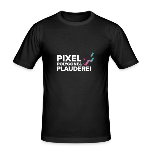 Pixel Polygone Plauderei Logo Weiß - Männer Slim Fit T-Shirt