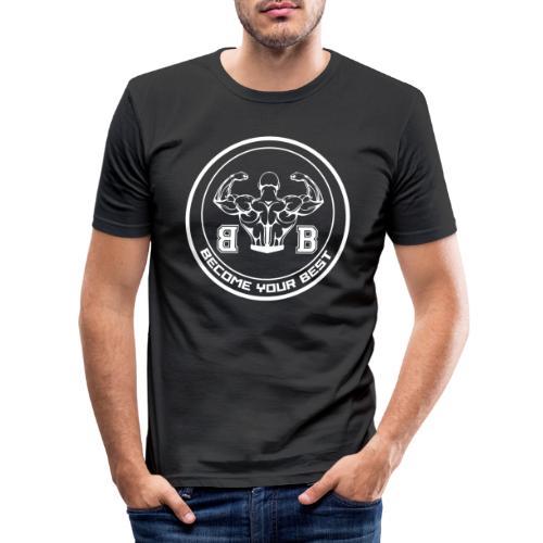 BYB logo white - Herre Slim Fit T-Shirt