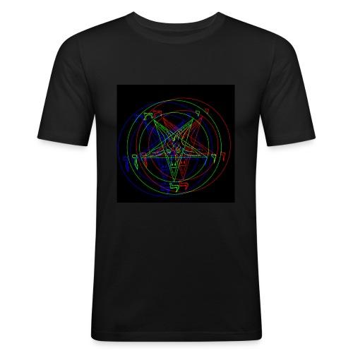 Satan, Pentagram RETRO VHS-Design - Männer Slim Fit T-Shirt
