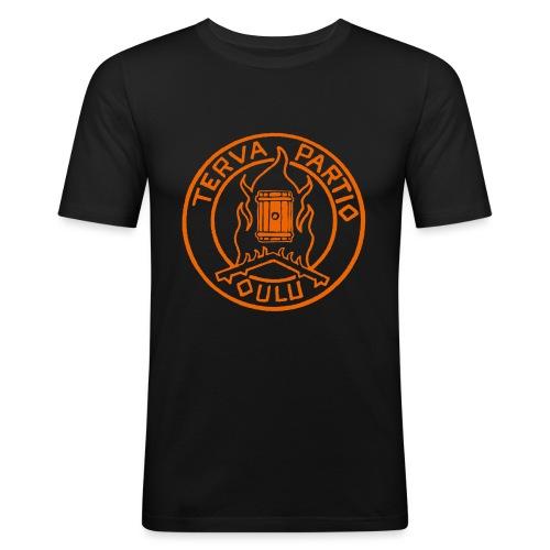 Tervapartio_oranssi - Miesten tyköistuva t-paita