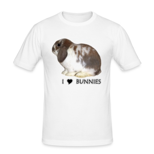 I Love Bunnies Luppis - Miesten tyköistuva t-paita