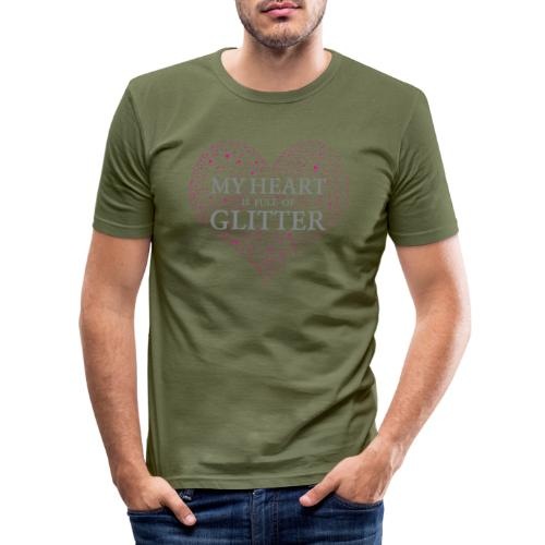 Glitzer Herz - Männer Slim Fit T-Shirt