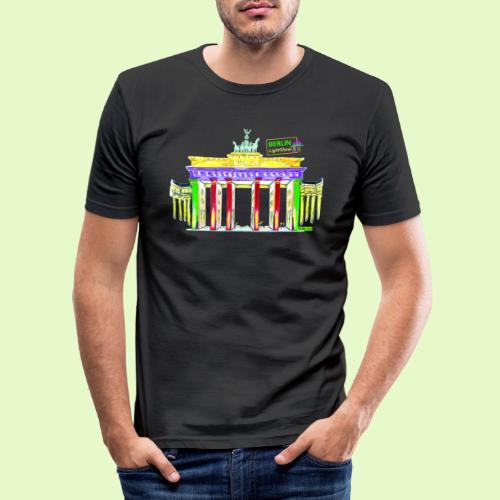 Berlin/Brandenburger Tor/PopArt/BerlinLightShow - Männer Slim Fit T-Shirt