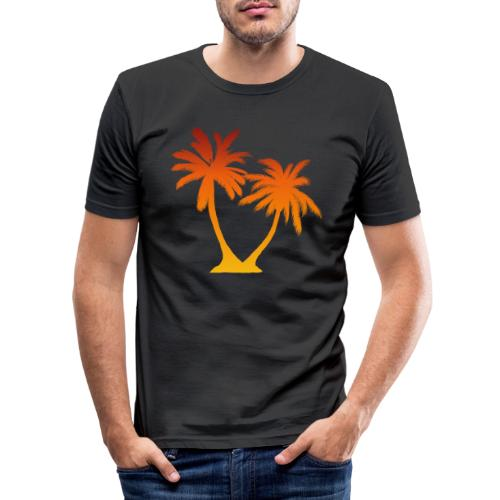 Palm Boom Zonsondergang - Mannen slim fit T-shirt
