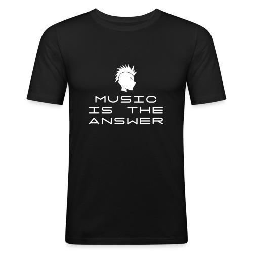 Mohawk Logo - Music is the Answer - Men's Slim Fit T-Shirt