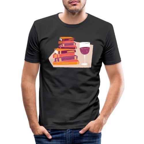 Bücher und Wein - Männer Slim Fit T-Shirt